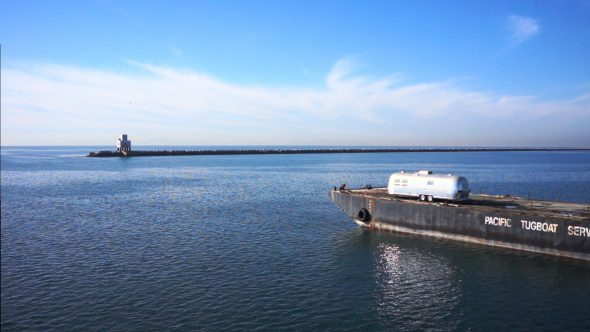 Tugboat Flyby Royalty Free Stock Drone Video Footage