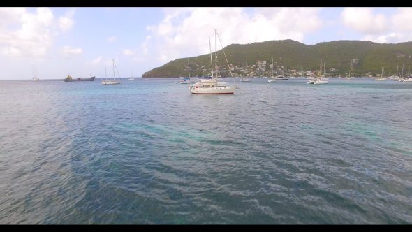 Flying Over Sailboats Royalty Free Stock Drone Video Footage
