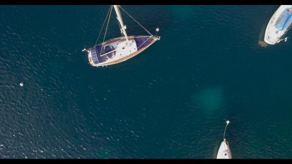 Looking Down at Sailboats 2 Royalty Free Stock Drone Video Footage