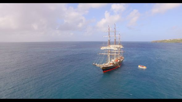 Zoom In of an Old Sailboat Royalty Free Stock Drone Video Footage