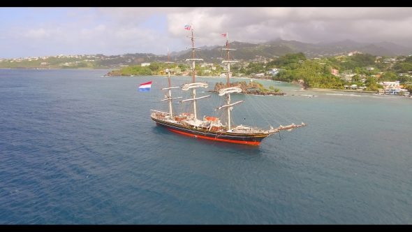 Rotating View of an Old Sailboat Royalty Free Stock Drone Video Footage