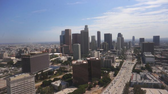 Skyscrapers Over LA Royalty Free Stock Drone Video Footage