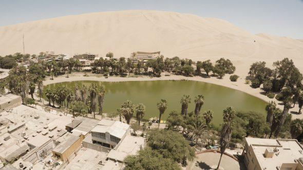 Huachachina Village, Peru 1 Royalty Free Stock Drone Video Footage
