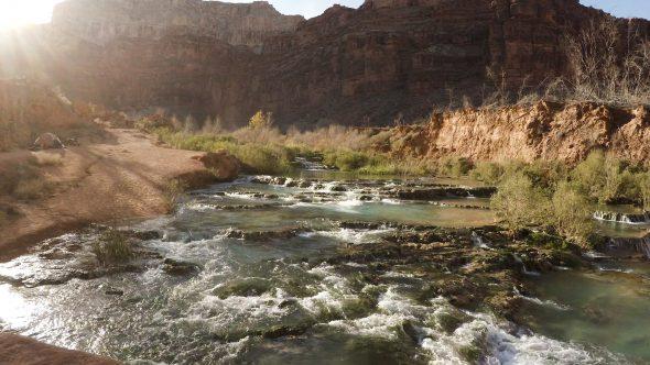 Navajo Falls Creek 1 Royalty Free Stock Drone Video Footage