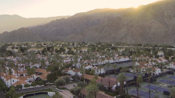Sunset Mountain Villas Royalty Free Stock Drone Video Footage