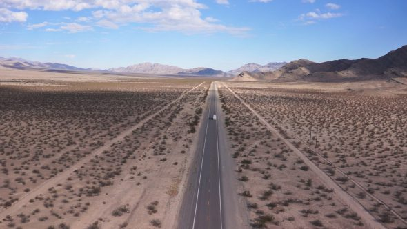 Bus Driving Under – Nevada Desert