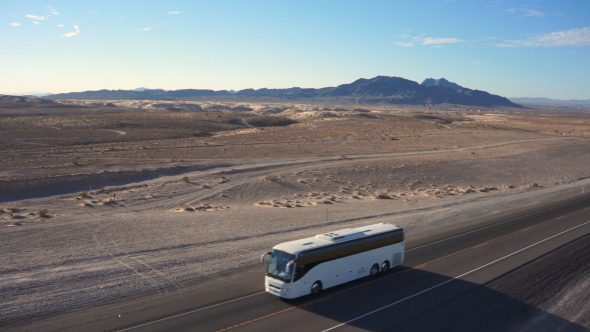 Desert Bus Flyover – Nevada Desert