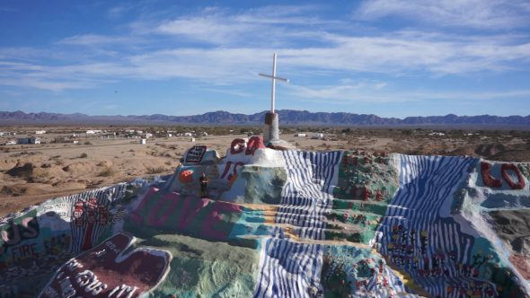 Salvation Mountain 4 Royalty Free Stock Drone Video Footage