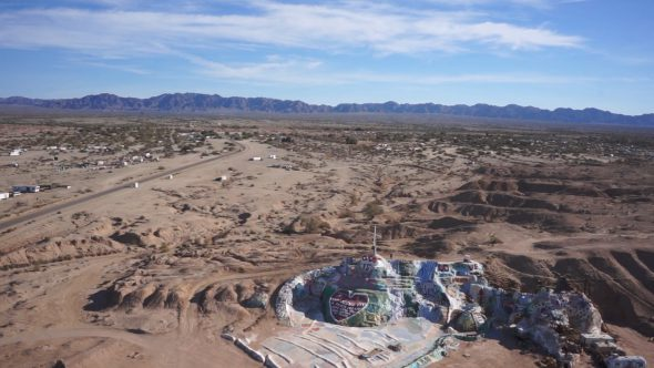 Salvation Mountain 5 Royalty Free Stock Drone Video Footage