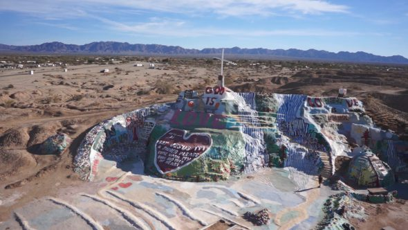 Salvation Mountain 3 Royalty Free Stock Drone Video Footage