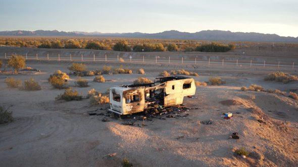 Burned Down Slab City Trailer Home Sunset 2