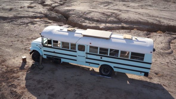 Slab City Bus 1 Royalty Free Stock Drone Video Footage