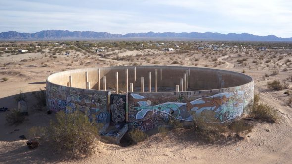 Slab City Water Tank Ruin Royalty Free Stock Drone Video Footage