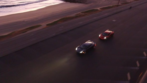 McLarens Coastal Chase 2 Royalty Free Stock Drone Video Footage