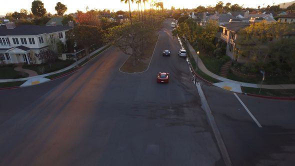 McLarens Suburban Sunset Chase 3 Royalty Free Stock Drone Video Footage
