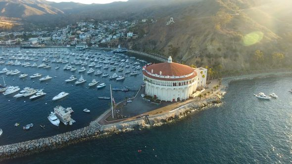 Yachts and the Sta. Catalina Island Casino 3 Royalty Free Stock Drone Video Footage