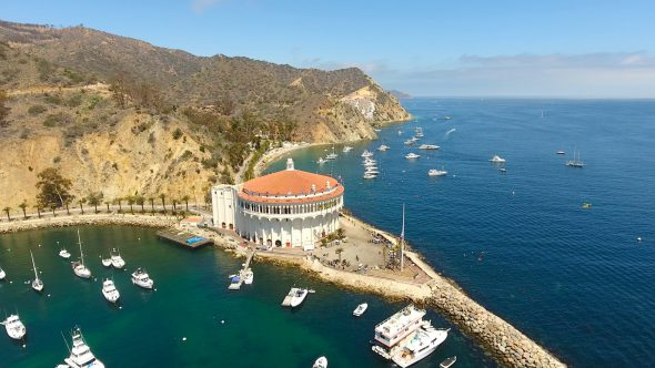 Yachts and the Sta. Catalina Island Casino 4 Royalty Free Stock Drone Video Footage