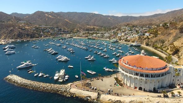 Yachts and the Sta. Catalina Island Casino 6 Royalty Free Stock Drone Video Footage
