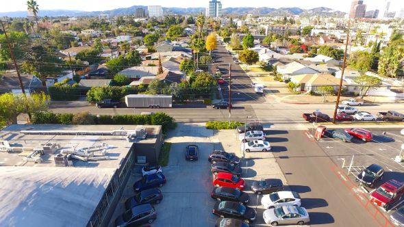 Black McLaren Suburban Parking Lot Royalty Free Stock Drone Video Footage