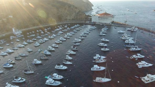 Yachts and the Sta. Catalina Island Casino 1 Royalty Free Stock Drone Video Footage