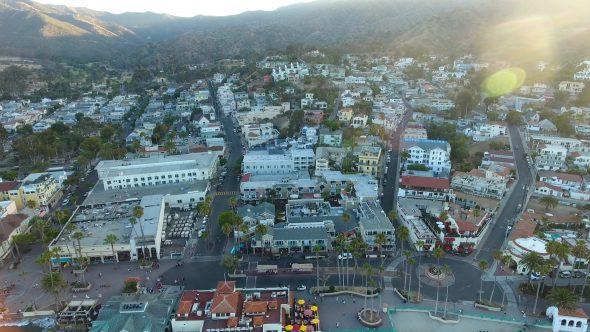 Avalon City Sta. Catalina Island 2 Royalty Free Stock Drone Video Footage