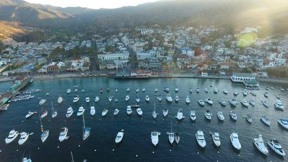 Avalon City Sta. Catalina Island 1 Royalty Free Stock Drone Video Footage