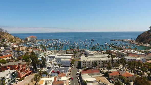 Avalon City Sta. Catalina Island 3 Royalty Free Stock Drone Video Footage