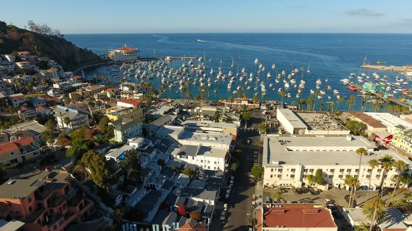 Avalon City Sta. Catalina Island 5 Royalty Free Stock Drone Video Footage