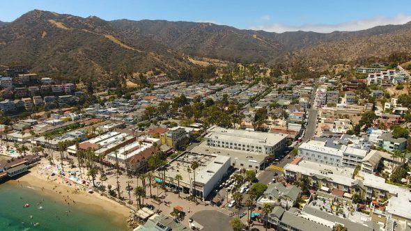 Avalon City Sta. Catalina Island 6 Royalty Free Stock Drone Video Footage