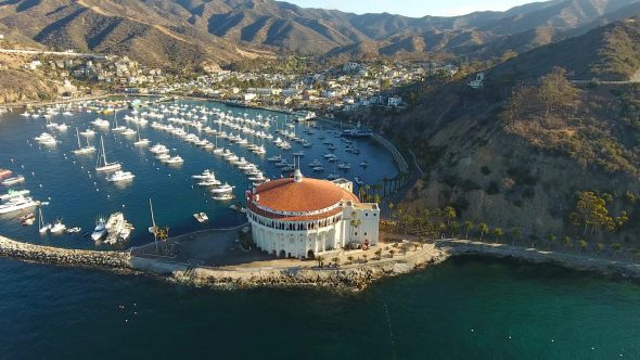 Yachts and the Sta. Catalina Island Casino 9 Royalty Free Stock Drone Video Footage