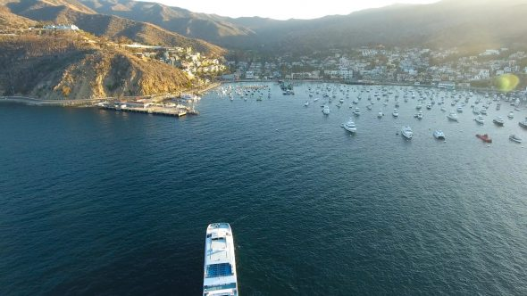 Sta. Catalina Ferry 2 Royalty Free Stock Drone Video Footage
