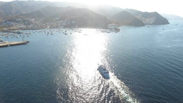 Sta. Catalina Ferry 3 Royalty Free Stock Drone Video Footage