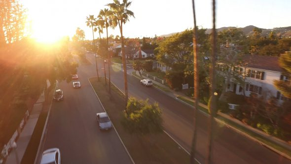 McLarens Suburban Sunset Chase 2 Royalty Free Stock Drone Video Footage