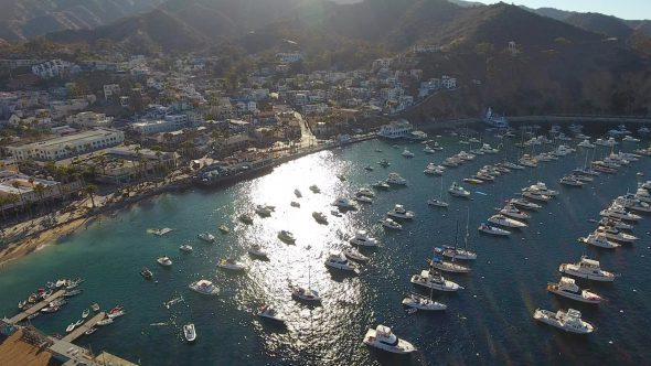 Avalon City Sta. Catalina Island 9 Royalty Free Stock Drone Video Footage