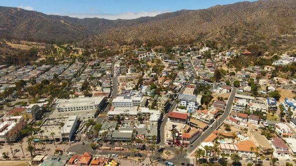 Avalon City Sta. Catalina Island 7 Royalty Free Stock Drone Video Footage