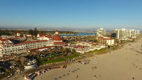 Hotel del Coronado Beach 2 Royalty Free Stock Drone Video Footage