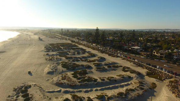 Coronado Beach Sand Dunes Royalty Free Stock Drone Video Footage