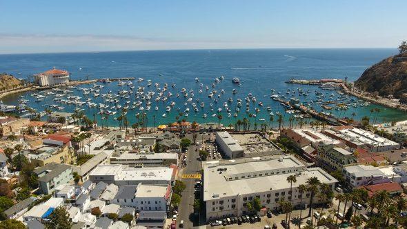 Avalon City Sta. Catalina Island 4 Royalty Free Stock Drone Video Footage