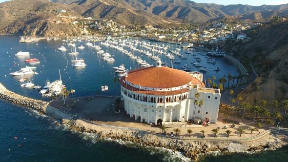 Yachts and the Sta. Catalina Island Casino 8 Royalty Free Stock Drone Video Footage