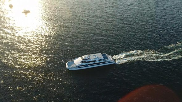 Sta. Catalina Ferry 1 Royalty Free Stock Drone Video Footage