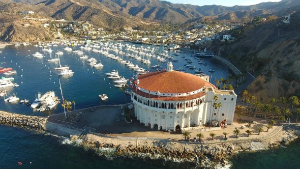 Yachts and the Sta. Catalina Island Casino 7 Royalty Free Stock Drone Video Footage