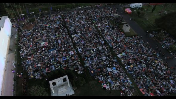Movie Picnic at Hollywood Cemetery 2 Royalty Free Stock Drone Video Footage