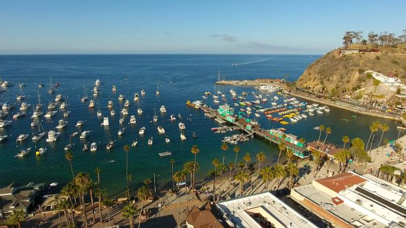 Sta. Catalina Harbor 6 Royalty Free Stock Drone Video Footage