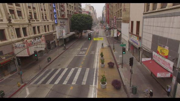 Running Along a Downtown L.A. Street 1