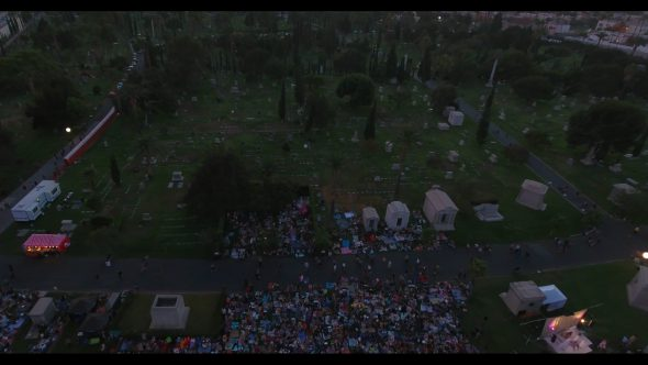 Movie Picnic at Hollywood Cemetery 5 Royalty Free Stock Drone Video Footage