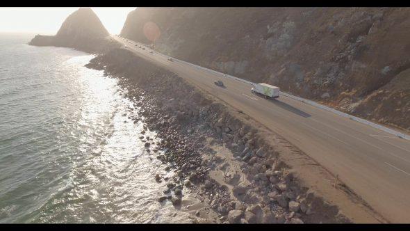 Malibu Coastal Road Drive 1 Royalty Free Stock Drone Video Footage