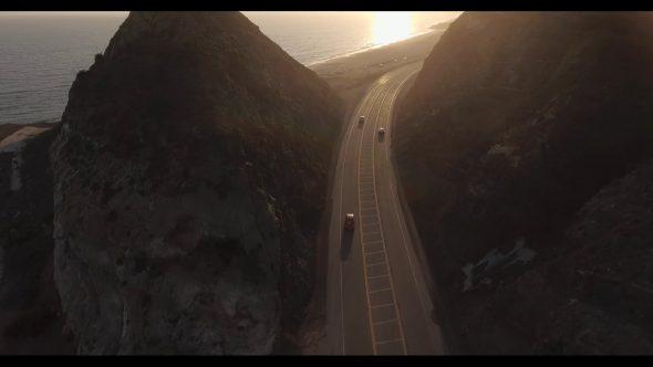 Malibu Coastal Road Drive 8 Royalty Free Stock Drone Video Footage