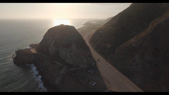 Malibu Coastal Road Drive 9 Royalty Free Stock Drone Video Footage