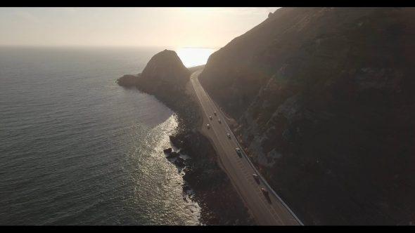 Malibu Coastal Road Drive 10 Royalty Free Stock Drone Video Footage