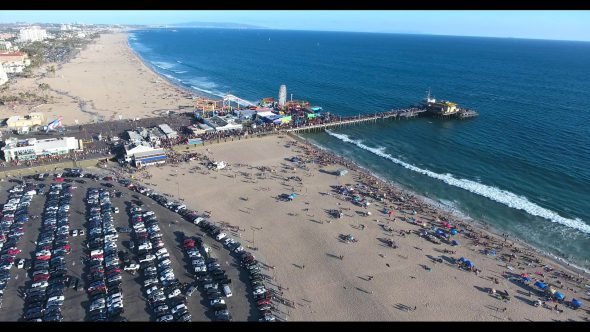 Santa Monica Beach Carnival by the Pier 1 Royalty Free Stock Drone Video Footage
